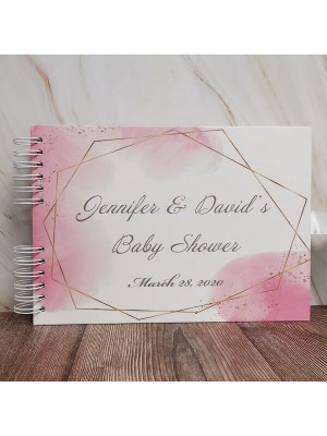 CUSTOM Pink Watercolour and Gold Geometric Frame and Speckles Guestbook with Different Page Options