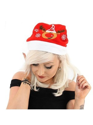Embroidered Reindeer Face Christmas Hat