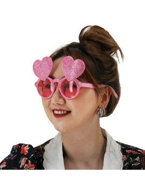 Pink Glitzy Double Love Hearts Glasses