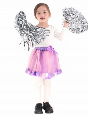 Kids - Dreamy Pink and Purple Tutu Skirt with Ribbon Trim and Bow