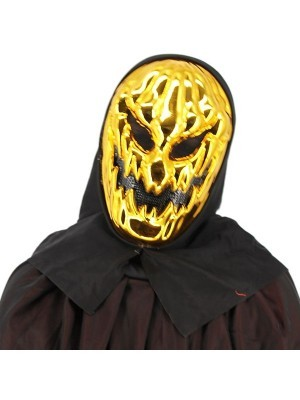 Evil Pumpkin Grim Reaper Style Head Mask Halloween Fancy Dress Costume - Gold