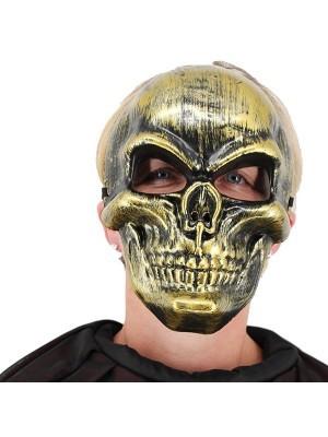 Halloween Fancy Dress Costume Evil Skeleton Face Mask – Gold