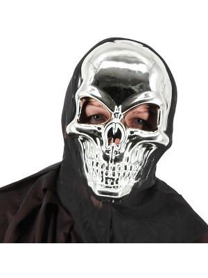 Evil Skeleton Grim Reaper Style Head Mask Halloween Fancy Dress Costume – Silver
