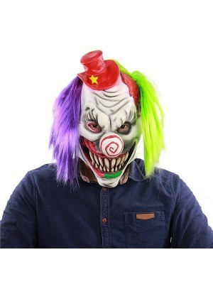 Circus Clown Mask with Hat Halloween Fancy Dress Costume