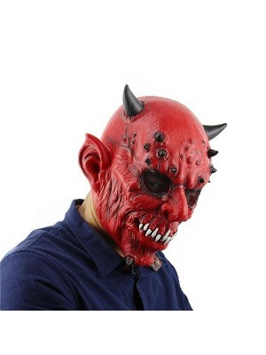 Fancy Dress, Costume Horned Devil Mask With Sharp Teeth