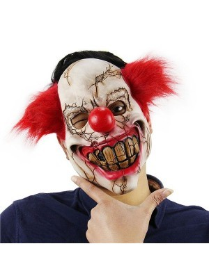 Scarred Crazy Clown Mask Halloween Fancy Dress Costume