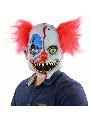 Two Faced Evil Clown Head Mask Halloween Fancy Dress Costume
