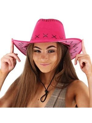 Fuchsia Pink Suede Effect Cowboy Hat