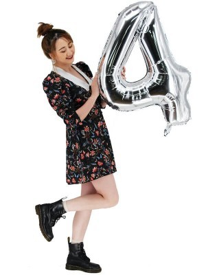 Extra Large size 40 Inch Inflatable Silver Balloon Number 4