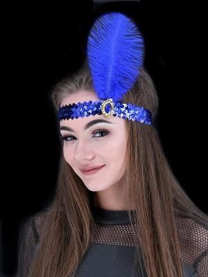 Gatsby Sequin Feathered Headband in Dark Blue