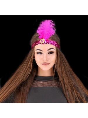 Gatsby Sequin Feathered Headband in Dark Pink