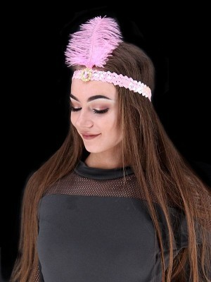 Gatsby Sequin Feathered Headband in Light Pink