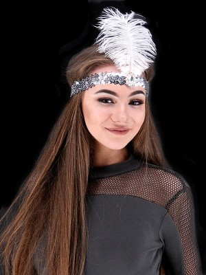 Gatsby Sequin Feathered Headband in Silver
