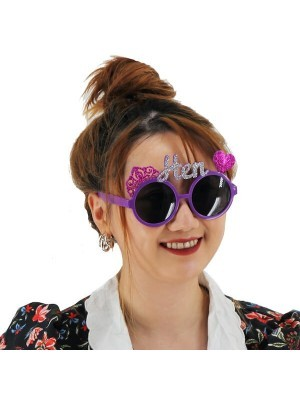 Purple With Hot Pink Glitter Tiara Heart Hen Party Glasses