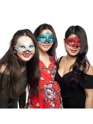 Glitzy Blue Masquerade Mask