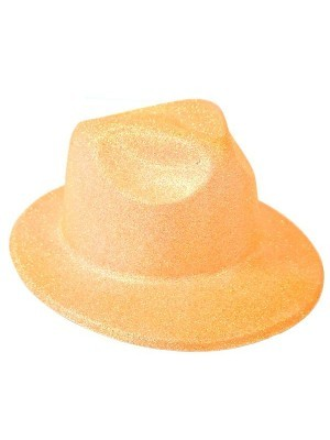 Orange Glitzy Plastic Gangster Hat