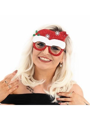 Red Santa Hat With Snowflakes Christmas Glasses