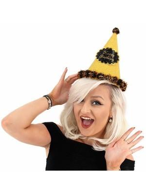 Gold Glitter 'Happy Birthday' Paper Hat