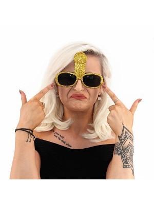 Gold Glitzy Willy Sunglasses