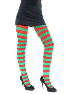 Adult Tights - Green & Red Striped