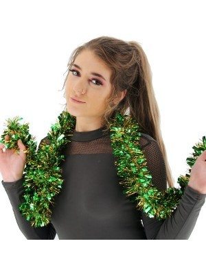 Green and Gold Mixed Tinsel