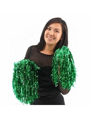 Set Of 2 Glitzy Cheerleader Pom Poms In Green