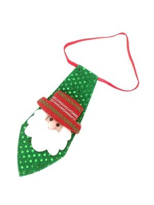 Green Sequin Santa Christmas Light Up Tie