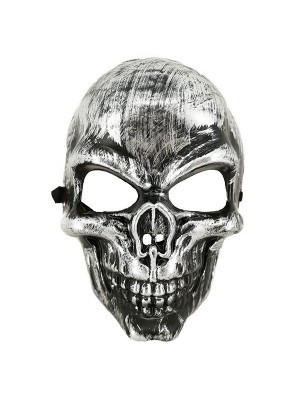 Halloween Fancy Dress Costume Evil Skeleton Face Mask – Silver