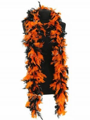 Luxury Halloween Orange & Black Feather Boa – 80g -180cm