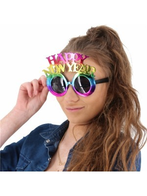 'Happy New Year' Multicoloured Holographic Foil Glasses