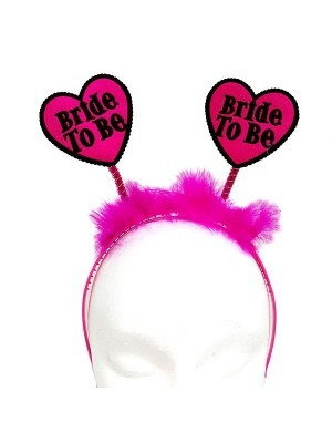 Heart 'Bride to be' Black and Hot Pink Feather Headband