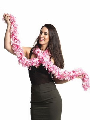 Luxurious Pink & White Featherless Boa