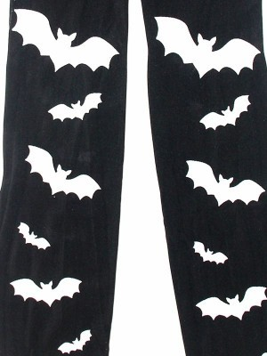 Kids Halloween Tights - Black with White Bats