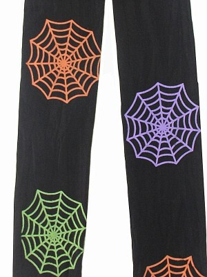 Kids Halloween Tights - Colourful Spider Webs