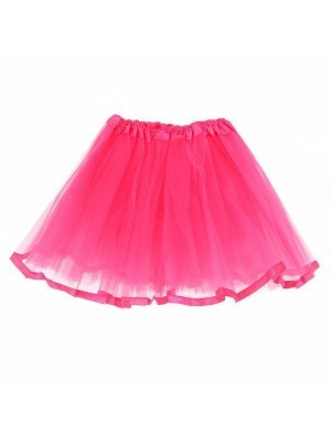 Kids Hot Pink Tutu Skirt With Ribbon Trim