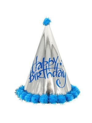 Kids Light Blue & Silver Holographic 'Happy Birthday' Paper Hat