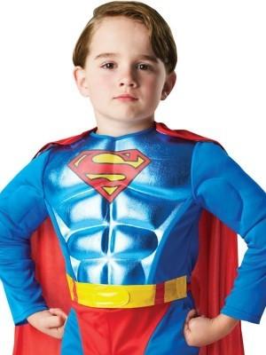 Kids Metallic Chest Superman Fancy Dress Costume