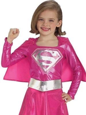 Kids Pink Metallic Supergirl Fancy Dress Costume