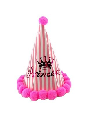 Kids Pink & White Stripes Crown and 'Princess' Paper Hat