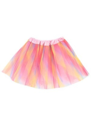 Kids - Pastel Pink and Rainbow Striped Tutu Skirt