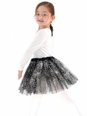 Kids - Black & Shiny Silver Spider Web Halloween Tutu Skirt