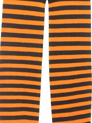 Kids Orange & Black Striped Tights