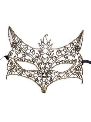 Fantastic Filigree Fox Soft Lace Effect Masquerade Mask in Gold