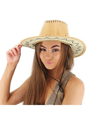 Light Tan Suede Effect Cowboy Hat