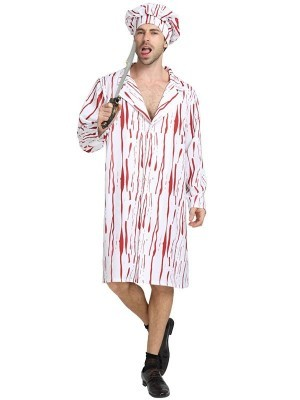 Male Bloody Chef Fancy Dress Halloween Costume - One Size