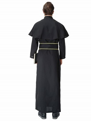 Male Black and Gold Priest Robe Vicar Fancy Dress Costume