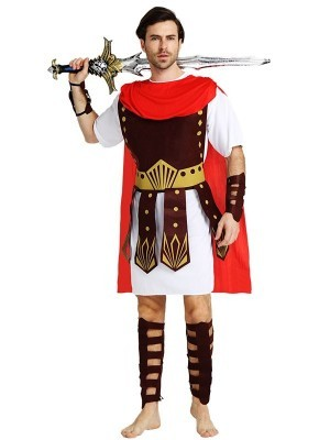 Male Roman Soldier Gladiator Fancy Dress Costume Style 1 – One Size