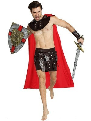 Male Roman Soldier Gladiator Fancy Dress Costume Style 3 – One Size