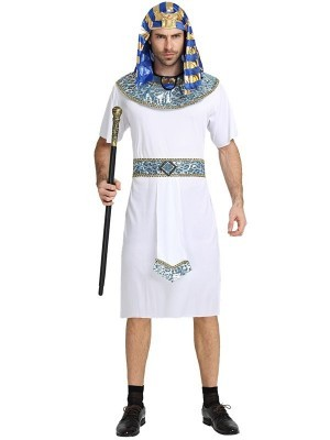 Male White Egyptian Pharaoh Fancy Dress Costume – One Size