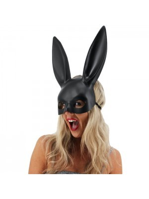 Matt Black Bunny Girl Masquerade Mask with Bunny Ears
